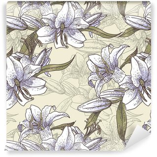 Seamless background with lilies in vintage style Self-adhesive Custom-made Wallpaper