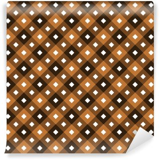 Seamless chocolate swatch - square or rhombus ornaments in diagonal way and muted colors of brown with white squares in center of each one Self-adhesive custom-made wallpaper