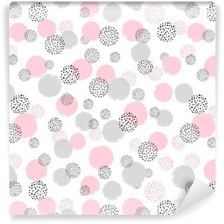 Seamless dotted pattern with pink and gray circles. Vector abstract background with round shapes Self-adhesive custom-made wallpaper