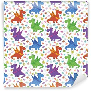 Seamless pattern, cartoon colorful Dragons Self-adhesive Custom-made Wallpaper