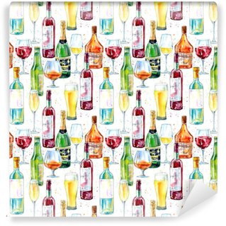 Seamless pattern of a champagne,cognac, wine, beer and glass. Painting of a alcohol drink .Watercolor hand drawn illustration.White background. Self-adhesive Custom-made Wallpaper