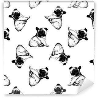 Seamless pattern of hand drawn sketch style french bulldog puppies. Vector illustration isolated on white background. Self-adhesive custom-made wallpaper