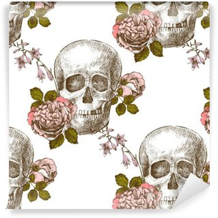 Seamless Pattern Skull With Flowers Self Adhesive Wallpaper