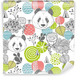 Seamless pattern with abstract design elements and heads of panda. Self-adhesive custom-made wallpaper