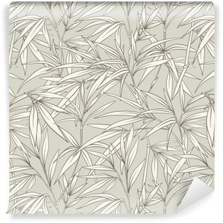 Seamless pattern with bamboo leaves and branches in Japanese sty Self-adhesive Custom-made Wallpaper