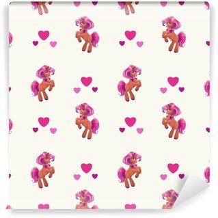 Seamless pattern with cute cartoon little horse Self-adhesive Custom-made Wallpaper