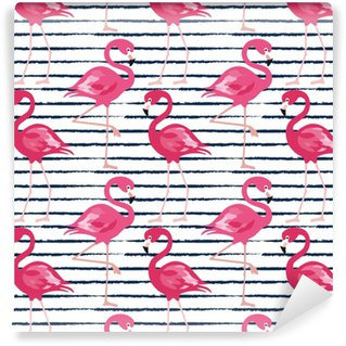 Seamless pattern with dark blue grunge stripes and pink flamingo. Pink flamingo vector background design for fabric and decor. Vector trendy illustration. Self-adhesive custom-made wallpaper