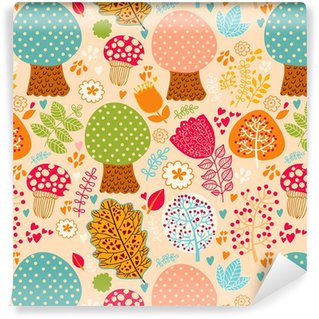 Seamless pattern with flowers, leaves and trees Self-adhesive custom-made wallpaper