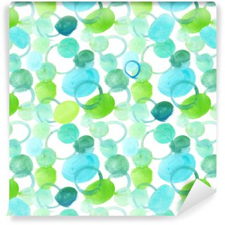 Seamless pattern with green and turquoise blue bubbles hand painted in watercolor on white isolated background Self-adhesive custom-made wallpaper