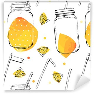 Seamless pattern with lemon and lime. Self-adhesive custom-made wallpaper