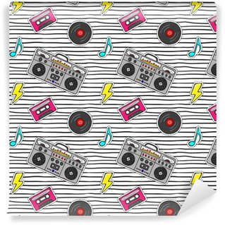 Seamless pattern with pop art stickers with tape recorder, cassette, vinyl record on modern texture with black stripes. Self-adhesive custom-made wallpaper