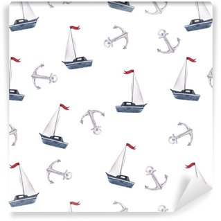 Seamless pattern with small boat and anchors on white background. Hand drawn watercolor illustration. Self-adhesive Custom-made Wallpaper