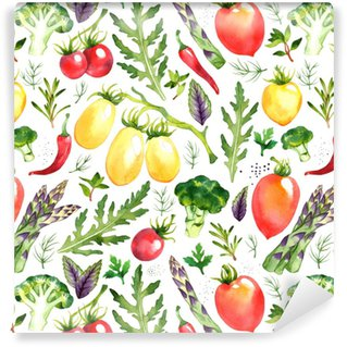 Seamless pattern with watercolor vegetables on white background Self-adhesive custom-made wallpaper