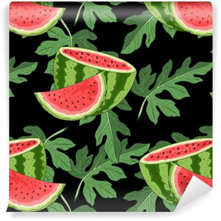 Seamless Pattern With Watermelon And Tropical Leaves In The Background.  Vector Illustration. Self