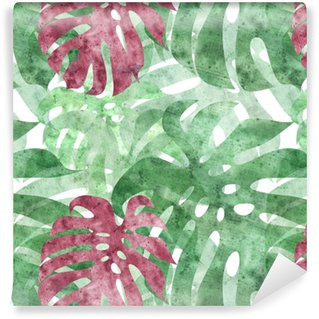 seamless repeatable monstera leaf background Self-adhesive Custom-made Wallpaper