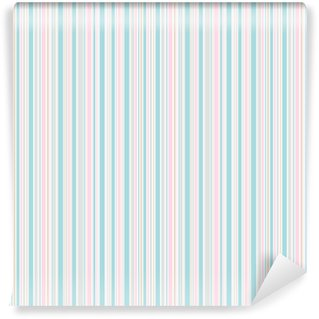 Seamless spring stripes pattern. Pink blue beige and white lines background. Abstract vector illustration Self-adhesive custom-made wallpaper