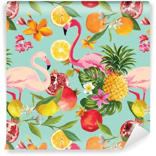 Seamless Tropical Fruits and Flamingo Pattern in Vector. Pomegranate, Lemon, Orange Flowers, Leaves and Fruits Background. Self-adhesive Custom-made Wallpaper