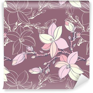 seamless vintage pattern with magnolia flower Self-adhesive Custom-made Wallpaper