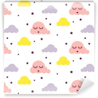 Sleepy clouds girlish seamless kid vector pattern. Pink, yellow and white background. Cute baby style textile fabric cartoon scandinavian ornament. Self-adhesive custom-made wallpaper
