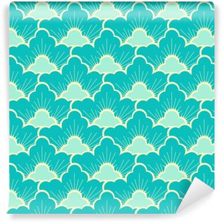 stylized pine forest sky blue japanese style seamless Self-adhesive Custom-made Wallpaper