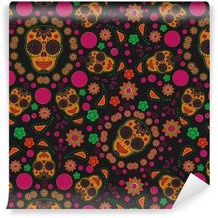 Sugar Skull Seamless Pattern Self Adhesive Wallpaper