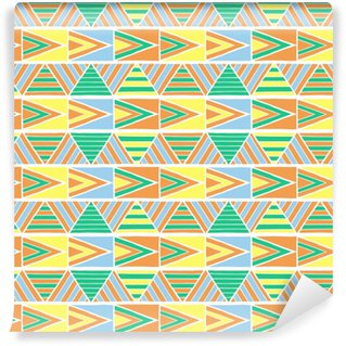 Summer african pattern vector seamless. Geometric triangle texture. Tribal borders background print for fabric, wallpaper, blanket, wrapping paper and ethnic boho card template. Self-adhesive custom-made wallpaper