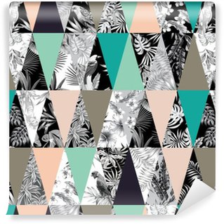 tropical patchwork seamless background Self-adhesive Custom-made Wallpaper