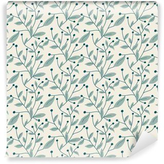 Vector seamless pattern. Modern stylish hand drawn floral texture with structure of repeating tree branches with leaves and berries. Self-adhesive custom-made wallpaper