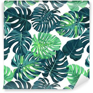 Vector seamless pattern with green monstera palm leaves on dark background. Summer tropical fabric design. Self-Adhesive Wallpaper