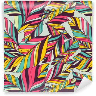 Vector seamless pattern with multicolor hand drawn decorative le Self-adhesive custom-made wallpaper