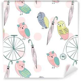 Vector seamless pattern with owls. Hand drawn illustration. Self-adhesive custom-made wallpaper