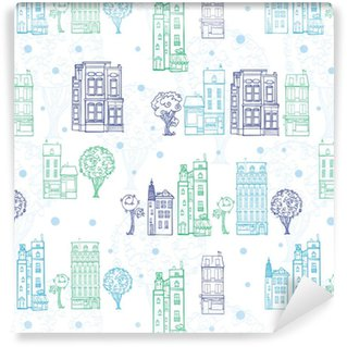 Vector Town Houses Trees Streets Blue Green Drawing Seamless Pattern with polka dots. Perfect for travel themed designs products, bags, accessories, luggage, clothing, home decor. Self-adhesive custom-made wallpaper