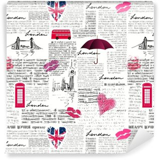 Vintage London pattern Self-adhesive Custom-made Wallpaper