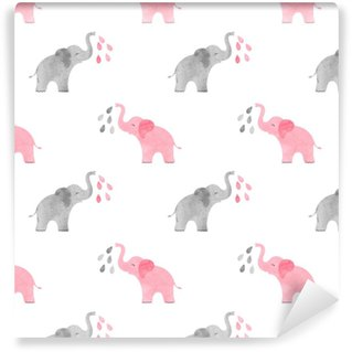 Watercolor cute elephants pattern. Vector simple seamless background for kids. Self-adhesive custom-made wallpaper