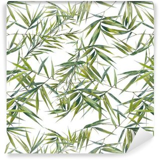 Watercolor illustration of bamboo leaves , seamless pattern on white background Self-Adhesive Wallpaper