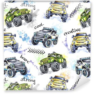 Watercolor seamless pattern Cartoon Monster Trucks. Colorful Extreme Sports background. 4x4. Vehicle SUV Off Road. Lifestyle. Man's hobby. Transport. Self-adhesive custom-made wallpaper