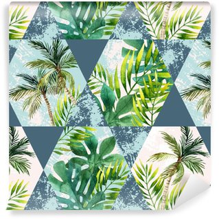 Watercolor tropical leaves and palm trees in geometric shapes seamless pattern Self-adhesive Custom-made Wallpaper