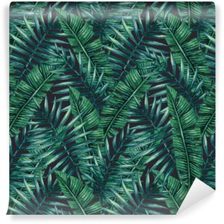 Watercolor tropical palm leaves seamless pattern. Vector illustration. Self-Adhesive Wallpaper