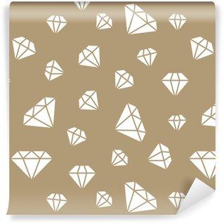 Smykker sømløs mønster, diamanter linje illustration. Vektor ikoner af brilliants. modebutik guld gentaget baggrund. Personlige selvklæbende tapet