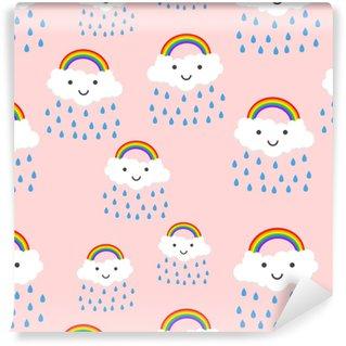 Glad regnbue følelser med skyer sømløs mønster bakgrunn ikon. business flat vektor illustrasjon. regnbue tegn tegn mønster.