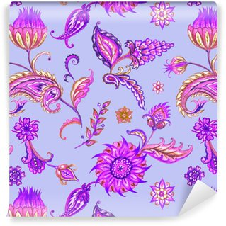 Sømløs paisley mønster. dekorative mønster av blader og blomster, akvarell mønster i lilla toner.