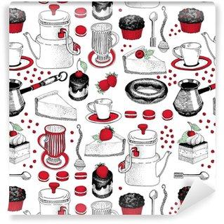 b1307b55 Vektor sømløs mønster med hånd trukket te og kaffe og dessert illustrasjoner.  kan brukes til