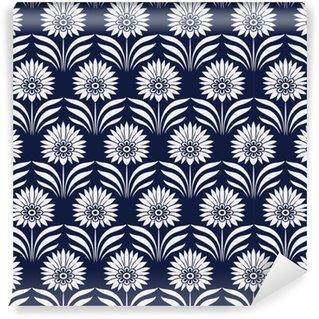 Sömlös blå kinesisk bakgrund botanisk trädgård punkt blad blomma