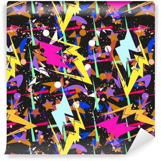 Vinyltapete nach Maß Abstraktes nahtloses Muster für Mädchen, Jungen, Kleidung. kreativen Hintergrund mit Punkten, geometrischen Figuren, Streifen Inschriften. lustige Tapete für Textil und Stoff. Modestil. bunt hell