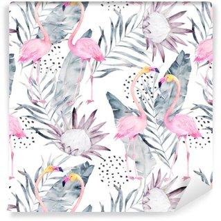 Vinyltapete nach Maß Abstraktes tropisches Muster mit Flamingo, Protea, verlässt. Aquarell nahtlose Druck. Minimalismus-Abbildung