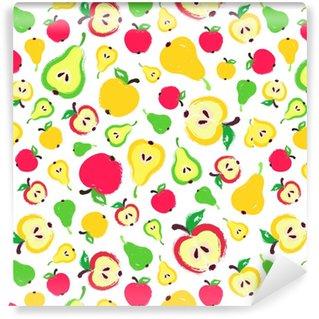 Vinyltapete nach Maß Apfel Birne Hintergrund gemalt Muster