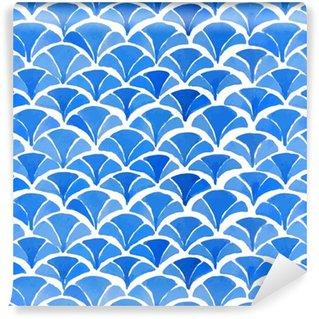 Vinyltapete nach Maß Aquarell blau japanische Muster.