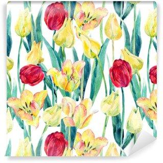 Vinyltapete nach Maß Aquarell Frühling Tulpen Feld nahtlose Muster