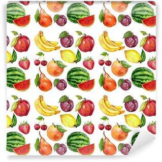 Vinyltapete nach Maß Aquarell nahtlose Muster mit Früchten