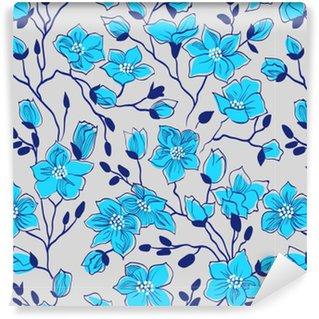 Vinyltapete nach Maß Blau; Ast; Magnolie; Muster; nahtlos; Silber-